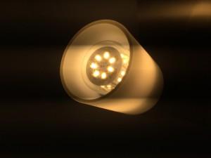 Energiesparende LED-Wandleuchte angeschaltet.