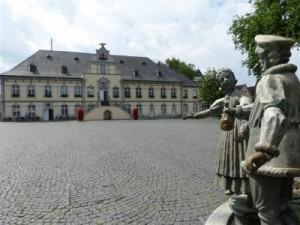 Das Rathaus in Lippstadt aus der Sicht des Brunnen