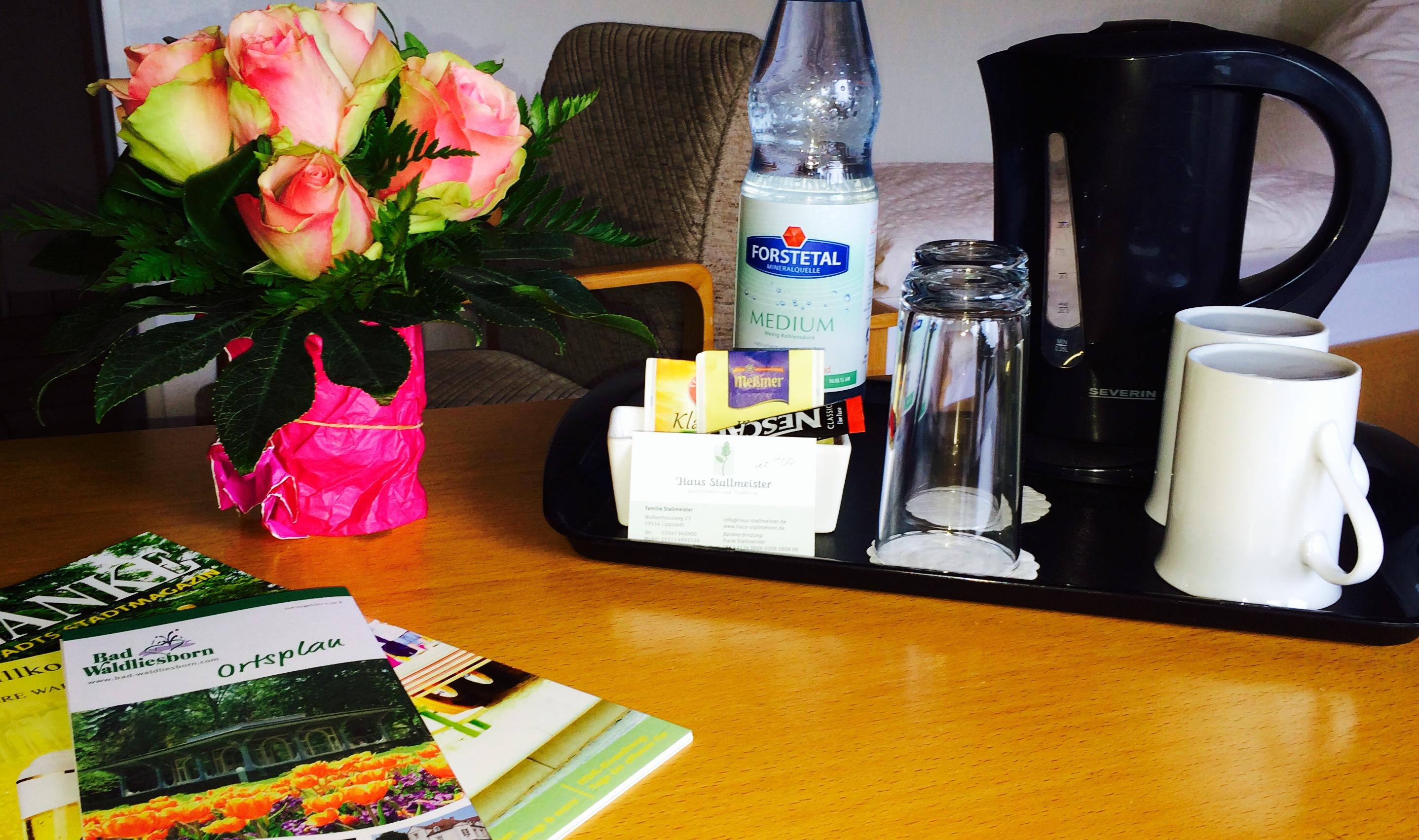 Wasserkocher, Flasche Wasser, Tee, Kaffee im Hotelzimmer vom Haus Stallmeister