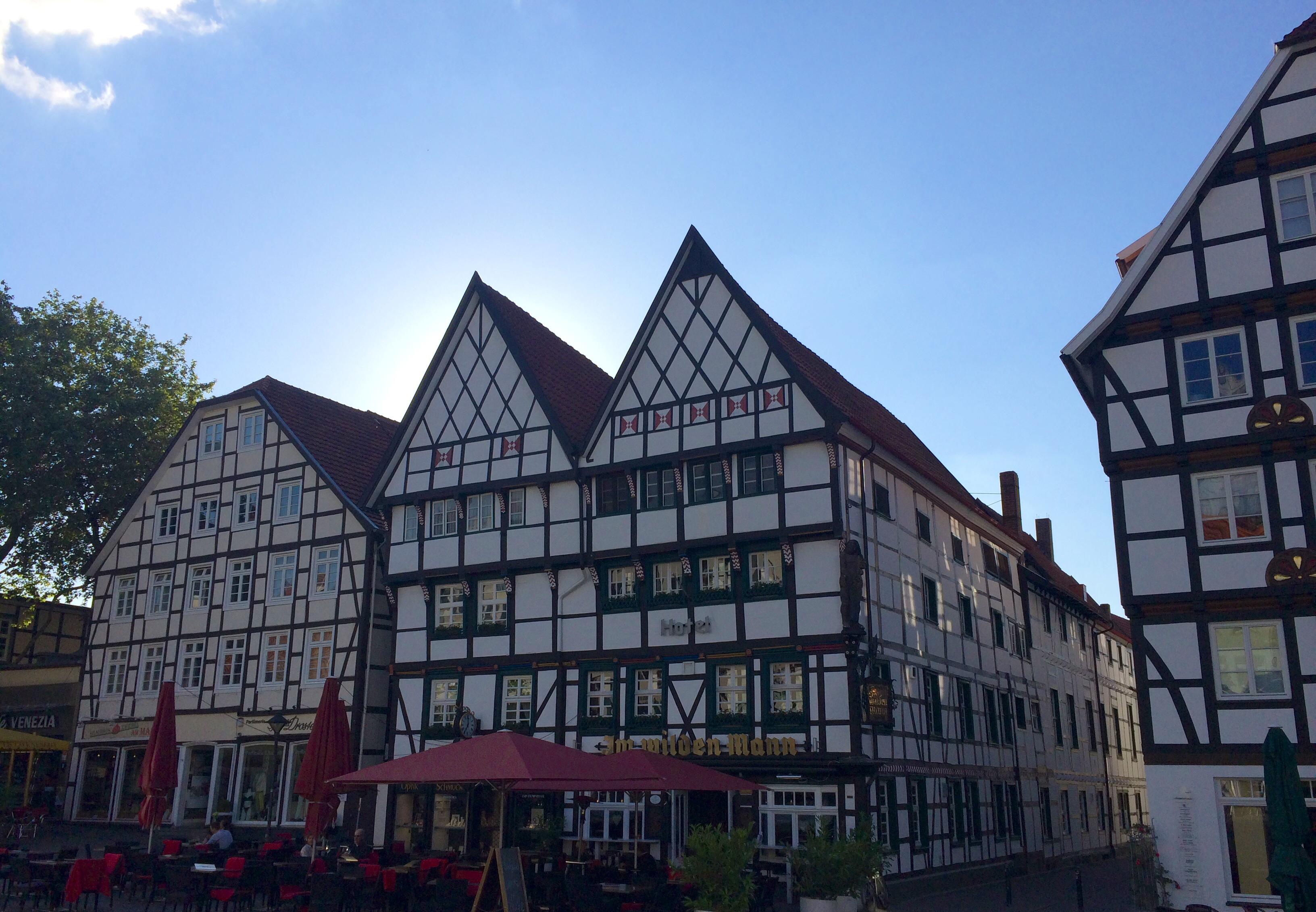 Fachwerkdoppelhaus mit zwei Giebeln in der Altstadt von Soest