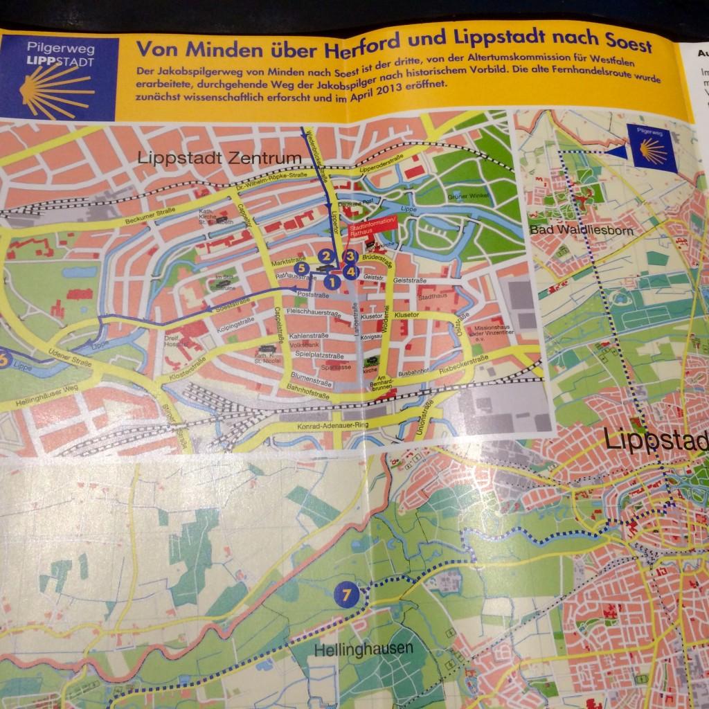 Jakobsweg Lippstadt Flyer mit Wegbeschreibung