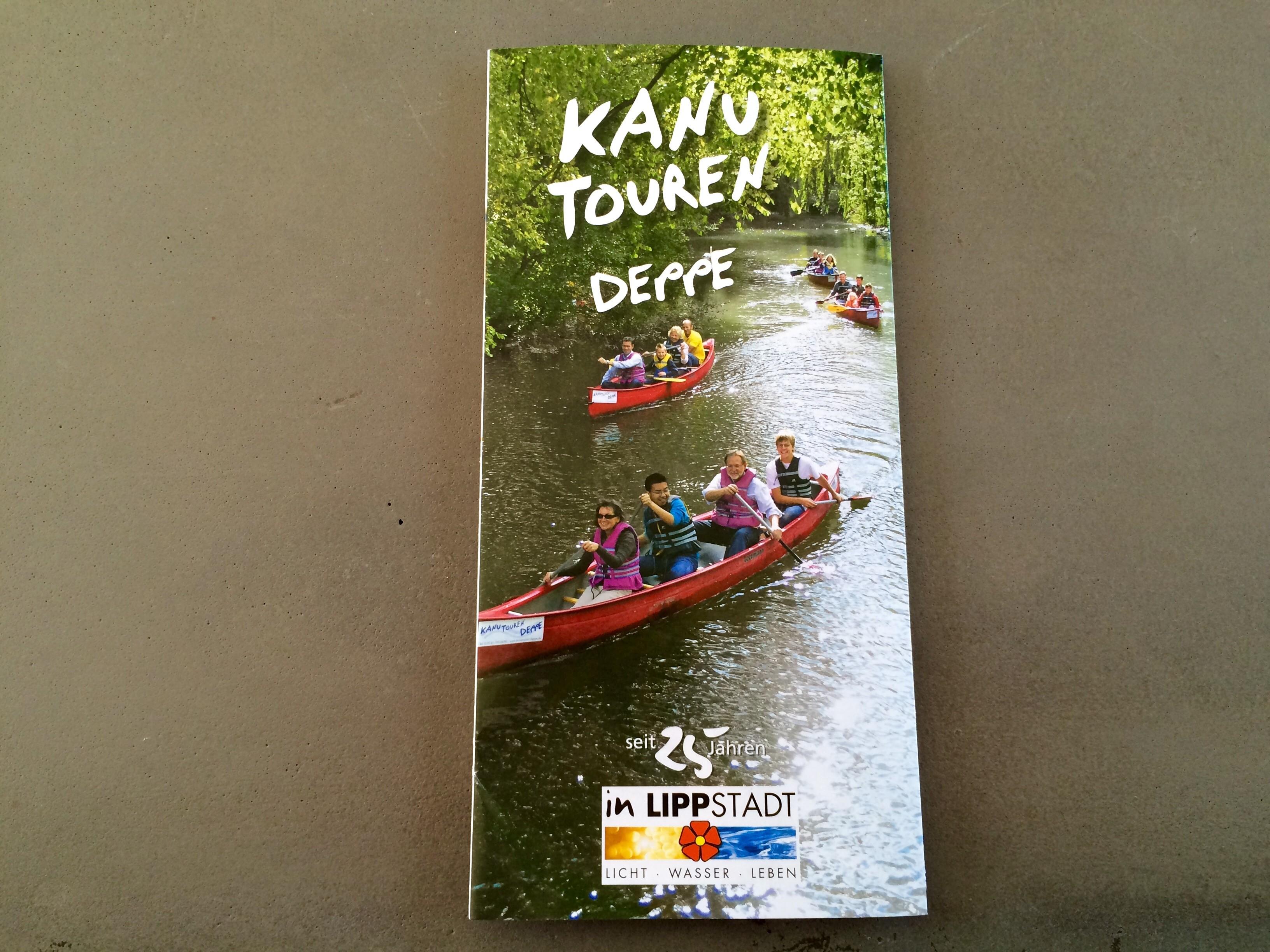 Kanutouren Deppe Flyer mit Infos zu Kanutouren in Lippstadt