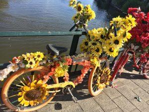Bunte Fahrräder auf einer Brücke Römer Lippe Route